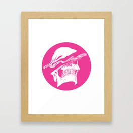 Liquify skull in hot pink Framed Art Print