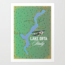 Lake Orta italy map Art Print