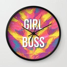 Girl Boss Colorful Rainbow Painting Wall Clock