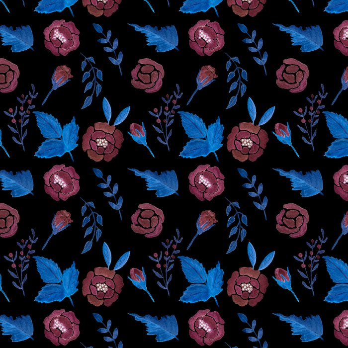 Watercolor floral red roses print on black Duvet Cover