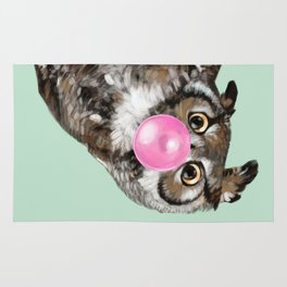 Sneaky Owl Blowing Bubble Gum Rug