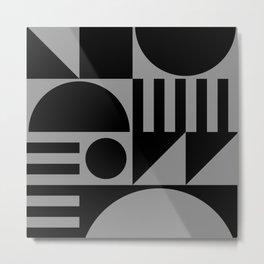 Mid Century Modern Geometric Abstract 936 Black and Gray Metal Print