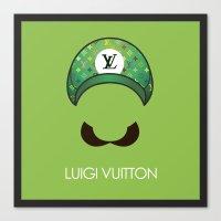 luigi Canvas Prints featuring Luigi Vuitton by Sam Pea