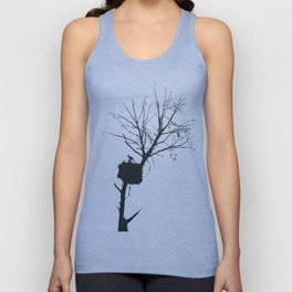 Silhouette Of Stalk Nest and Fledglings Vector Unisex Tank Top