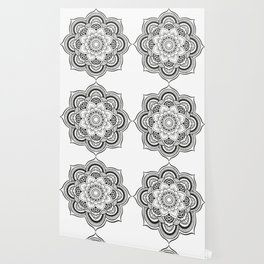 Mandala White & Black Wallpaper