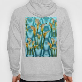 Calla Lilies  Blue Rippling Water Graphic Art Hoody