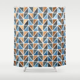 Gold Steel Ice geometric pattern Shower Curtain