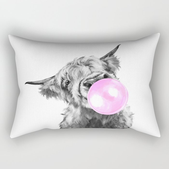 Bubble Gum Highland Cow Black and White Rectangular Pillow