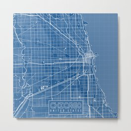 Chicago City Map of the United States - Blueprint Metal Print