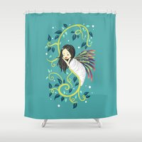 bjork Shower Curtains featuring Cocoon by Freeminds