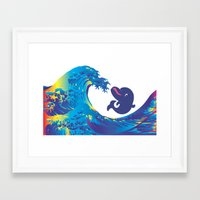 hokusai Framed Art Prints featuring Hokusai Rainbow & Babydolphin by FACTORIE