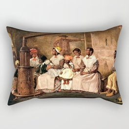 "Classical Masterpiece: Eyre Crowe's ""Slaves Waiting for Sale"" (1861) Rectangular Pillow"