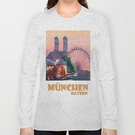 Munich Bavaria Germany Retro Travel  Poster Long Sleeve T-shirt