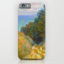 Claude Monet Impressionist Landscape Oil Painting Road at La Cavée, Pourville iPhone Case