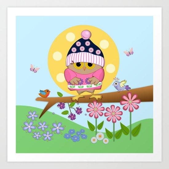 Spring owl in her new dress Art Print
