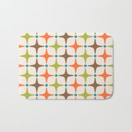 Mid Century Modern Star Pattern 814 Brown Orange Turquoise Chartreuse Bath Mat