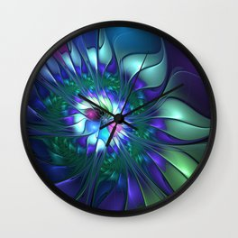 Abstract Flower Colorful Fractal Art Wall Clock