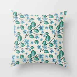 Sprigs with green leaves and blue flowers. Throw Pillow