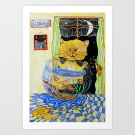 Fishy Kitten Art Print