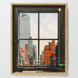 New York City Window #3 | Colorful Cityscape Serving Tray