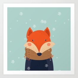 Fox Under Snow in the Christmas Time. Art Print
