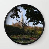 vienna Wall Clocks featuring vienna volksgarten by Lisa Carpenter