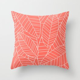 Coral Tropical Palm Leaves Pattern Throw Pillow