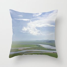 Yellow River in Sichuan, China Throw Pillow