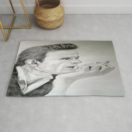 Young Johnny Cash Pencil Drawing Rug