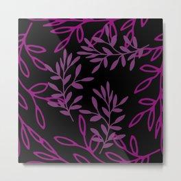 Leafy Pink Metal Print