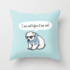 Hipster polarbear Throw Pillow