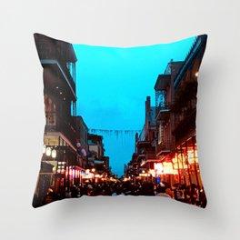 New Orleans Bourbon Street Dusk Throw Pillow