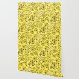 Monochrome Vintage Bicycles On Bright Yellow Wallpaper