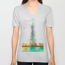 Burj Khalifa, Dubai, Aquarell Unisex V-Neck