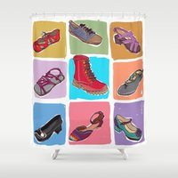 shoes Shower Curtains featuring Shoes by Aidacass