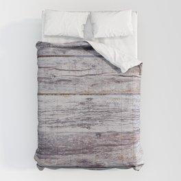 Rustic distressed western country old barn beige light grey woodgrain Comforters