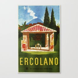 Ercolano Naples Italian summer travel ad Canvas Print