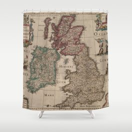 Vintage Map of The British Isles (1617) Shower Curtain