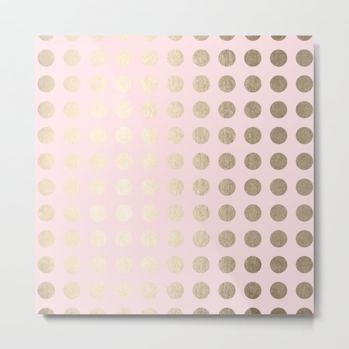 Simply Polka Dots White Gold Sands on Flamingo Pink Metal Print
