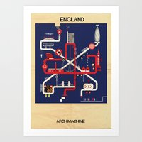 england Art Prints featuring England by federico babina
