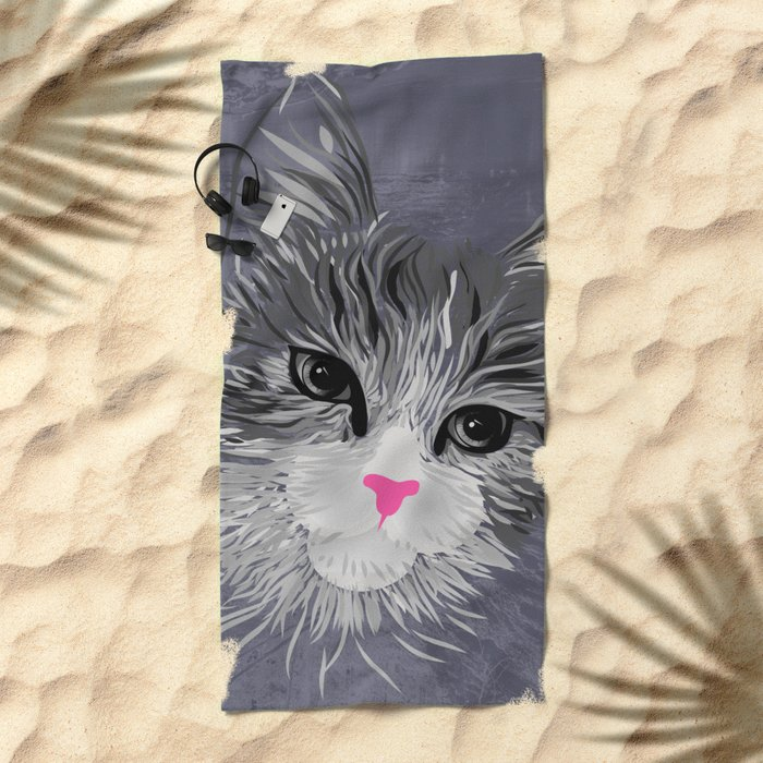 Gray Cat with Pink Nose Beach Towel