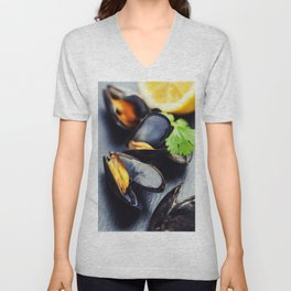 group of boiled mussels in shells Unisex V-Neck