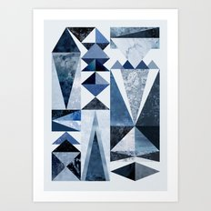Blue Shapes Art Print