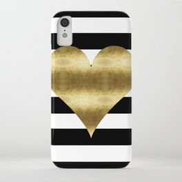 gold heart black and white stripe iPhone Case