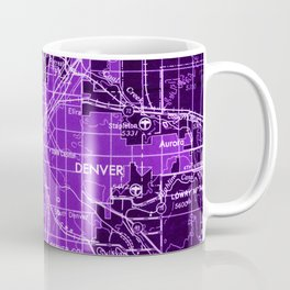 Denver Colorado map, year 1958, purple filter Coffee Mug