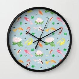 KOI fish lily pad light blue Wall Clock