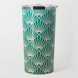 Teal golden Art Deco pattern Travel Mug