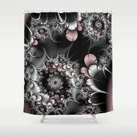 novelty Shower Curtains featuring Widow's Web Fractal by Moody Muse