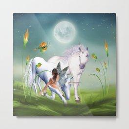 Einhorn und Fee - Unicorn and Fairy Metal Print