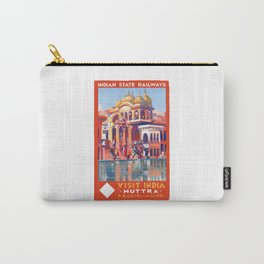 1928 VISIT INDIA Muttra Train Travel Poster Carry-All Pouch